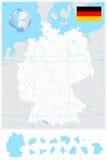 Ιδιαίτερα λεπτομερής κενός χάρτης περιλήψεων της Γερμανίας με τους ποταμούς Στοκ Εικόνες
