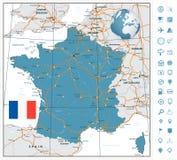 Ιδιαίτερα λεπτομερής οδικός χάρτης της Γαλλίας με τις ετικέτες ναυσιπλοΐας Στοκ Φωτογραφίες