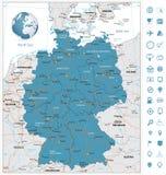 Ιδιαίτερα λεπτομερής οδικός χάρτης της Γερμανίας με τους ποταμούς και τη ναυσιπλοΐα Στοκ Εικόνες