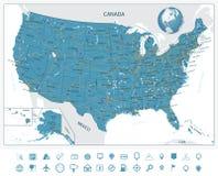 Ιδιαίτερα λεπτομερής οδικός χάρτης των Ηνωμένων Πολιτειών Στοκ φωτογραφία με δικαίωμα ελεύθερης χρήσης