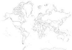 Ιδιαίτερα λεπτομερής παγκόσμιος χάρτης περιγράμματος Στοκ Φωτογραφία