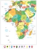 Ιδιαίτερα λεπτομερής πολιτικός χάρτης της Αφρικής που απομονώνεται στο λευκό και το ΛΦ Στοκ εικόνα με δικαίωμα ελεύθερης χρήσης