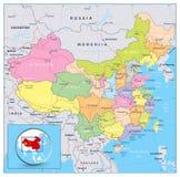 Ιδιαίτερα λεπτομερής πολιτικός χάρτης της Κίνας με τους δρόμους, σιδηρόδρομοι και ελεύθερη απεικόνιση δικαιώματος