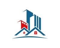 Ιδιοκτησία ακίνητων περιουσιών και σχέδιο λογότυπων κατασκευής για το επιχειρησιακό εταιρικό σημάδι στοκ εικόνα με δικαίωμα ελεύθερης χρήσης