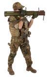 Ιδιωτικός στρατιωτικός ανάδοχος με το εκτοξευτή ρουκετών RPG στοκ φωτογραφίες