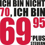 Ι ` μ όχι 70, Ι ` μ 69 95 συν το φόρο - 70α γενέθλια γερμανικά διανυσματική απεικόνιση