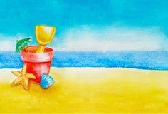 Κάδος, φτυάρι, ομπρέλα, κοχύλι και αστερίας παιχνιδιών παραλιών παιδιών στην άμμο ενάντια στον ουρανό, τον ωκεανό ή τη θάλασσα στ απεικόνιση αποθεμάτων