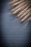 Κάθετα αυτιά σίτου άποψης στον εκλεκτής ποιότητας ξύλινο πίνακα Στοκ Εικόνες
