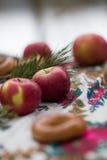 Κάθετα κόκκινα μήλα φωτογραφιών σε ένα ελαφρύ θολωμένο υπόβαθρο, υπαίθρια σε ένα όμορφο τραπεζομάντιλο Στοκ φωτογραφία με δικαίωμα ελεύθερης χρήσης