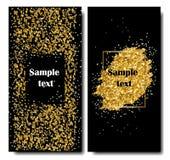 Κάθετα μαύρα και χρυσά εμβλήματα καθορισμένα, σχέδιο ευχετήριων καρτών Χρυσή διανυσματική απεικόνιση σκόνης Καλή χρονιά και Στοκ Εικόνα