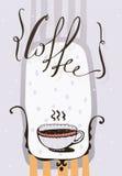 Κάθετη απεικόνιση με συρμένη τη χέρι εγγραφή με τον καφέ λέξης, τα σημεία και το ζεστό ποτό σε ένα χαριτωμένο φλυτζάνι Ανοικτό μω Στοκ Εικόνες