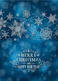 Κάθετη αφίσα Χριστουγέννων - απεικόνιση Χριστούγεννα σκούρο μπλε - σύντομο πορτρέτο κειμένων Στοκ φωτογραφίες με δικαίωμα ελεύθερης χρήσης