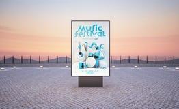 κάθετος πίνακας διαφημίσεων αφισών γεγονότος μουσικής οδών ελεύθερη απεικόνιση δικαιώματος