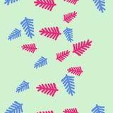 Κάθετο άνευ ραφής σχέδιο του floral μοτίβου, κλάδοι, doodles, ομο Στοκ Εικόνα