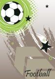 Κάθετο έμβλημα ποδοσφαίρου με το μεγάλο βέλος Στοκ Φωτογραφίες