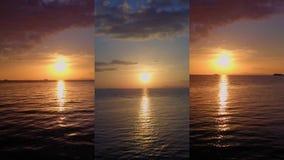 Κάθετο βίντεο για τις κοινωνικές εφαρμογές μέσων στις κινητές συσκευές Εναέρια άποψη Seacape στο πορφυρό ηλιοβασίλεμα απόθεμα βίντεο