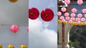 Κάθετο βίντεο για τις κοινωνικές εφαρμογές μέσων στις κινητές συσκευές Κινεζικά φανάρια στο ναό απόθεμα βίντεο