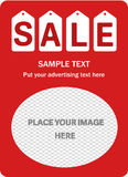Κάθετο κόκκινο έμβλημα πώλησης Στοκ Φωτογραφίες