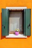 Κάθετο παράθυρο με το λουλούδι Στοκ φωτογραφία με δικαίωμα ελεύθερης χρήσης
