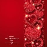 Κάθετο υπόβαθρο ημέρας βαλεντίνων με τις λάμποντας κόκκινα καρδιές και το κομφετί Απεικόνιση καρτών διακοπών στο κόκκινο υπόβαθρο ελεύθερη απεικόνιση δικαιώματος
