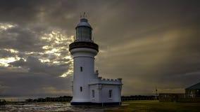 Κάθετο φως σημείου στη σειρά όπλων Beecroft στον κόλπο Jervis, NSW, Αυστραλία στοκ φωτογραφίες