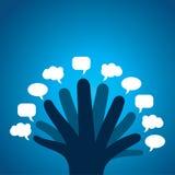 Κάθε δάχτυλο εμφανίζει διαφορετική φυσαλίδα μηνυμάτων Στοκ φωτογραφία με δικαίωμα ελεύθερης χρήσης