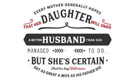 Κάθε μητέρα γενικά ελπίζει ότι η κόρη της εμπλοκή ένας καλύτερος σύζυγος διανυσματική απεικόνιση