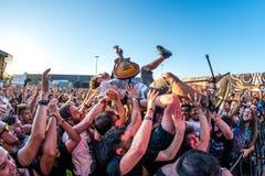 Κάθε φορά που πεθαίνω metalcore ζώνη μουσικής αποδώστε στη συναυλία Download στο φεστιβάλ μουσικής βαρύ μετάλλου Στοκ Φωτογραφία