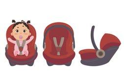 κάθισμα αυτοκινήτων μωρών Πλευρά και μέτωπο της καρέκλας ασφάλειας διανυσματική απεικόνιση