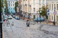 Κάθοδος Andriyivskyy, για τους πεζούς οδός Ουκρανία, Kyiv, Podil r Στοκ φωτογραφία με δικαίωμα ελεύθερης χρήσης