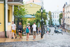 Κάθοδος Andriyivskyy, για τους πεζούς οδός Ουκρανία, Kyiv, Podil r Στοκ Εικόνες