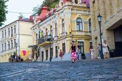 Κάθοδος Andriyivskyy, για τους πεζούς οδός Ουκρανία, Kyiv, Podil r Στοκ φωτογραφίες με δικαίωμα ελεύθερης χρήσης