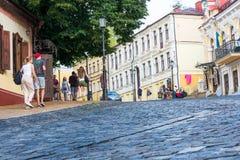 Κάθοδος Andriyivskyy, για τους πεζούς οδός Ουκρανία, Kyiv, Podil r Στοκ εικόνες με δικαίωμα ελεύθερης χρήσης