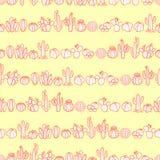 Κάκτος και succulents στην κόκκινη διάταξη περιλήψεων στην κρητιδογραφία κίτρινη Στοκ εικόνα με δικαίωμα ελεύθερης χρήσης