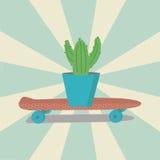 Κάκτος ρόδινο skateboard διανυσματική απεικόνιση