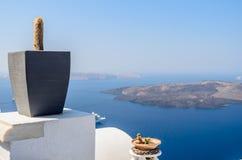 Κάκτος στο βάζο ως διακόσμηση στο πεζούλι Santorini Στοκ Εικόνες
