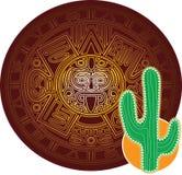 Κάκτος στο υπόβαθρο της τυποποιημένης εικόνας του αρχαίου των Μάγια ημερολογίου διανυσματική απεικόνιση