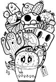 Κάκτων αγάπης γραπτός Doodle που απομονώνεται εύκολος Στοκ Εικόνες