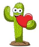Κάκτων κινούμενων σχεδίων αστεία αγάπη καρδιών χαρακτήρα διανυσματική που απομονώνεται απεικόνιση αποθεμάτων