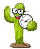 Κάκτων κινούμενων σχεδίων αστείο ρολόι εκμετάλλευσης nerd χαρακτήρα διανυσματικό που απομονώνεται απεικόνιση αποθεμάτων