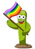 Κάκτων κινούμενων σχεδίων σημαία ουράνιων τόξων ειρήνης υποστηρικτών χαρακτήρα που απομονώνεται αστεία απεικόνιση αποθεμάτων