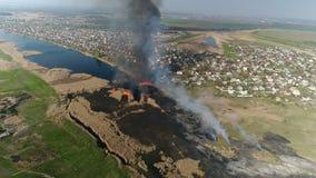 Κάλαμοι πυρκαγιάς στον ποταμό Εναέρια έρευνα φιλμ μικρού μήκους