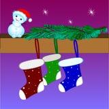 Κάλτσες Χριστουγέννων, κλάδος χριστουγεννιάτικων δέντρων, χιονάνθρωπος Χριστουγέννων διάνυσμα διανυσματική απεικόνιση