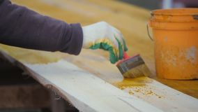 Κάλυψη των ξύλινων σανίδων με το αντισηπτικό απόθεμα βίντεο