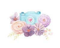 Κάμερα και λουλούδια Watercolor διανυσματική απεικόνιση