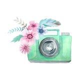 Κάμερα και λουλούδια Watercolor απεικόνιση αποθεμάτων