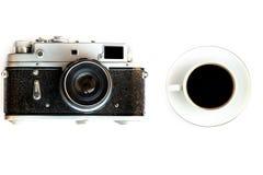Κάμερα καφέ και ταινιών Στοκ φωτογραφία με δικαίωμα ελεύθερης χρήσης
