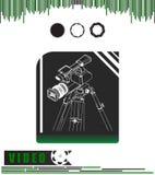 Κάμερα με το τρίποδο μαύρος και πράσινος διανυσματική απεικόνιση