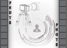 Κάμερα με το τρίποδο σε έναν γκρίζο ελεύθερη απεικόνιση δικαιώματος