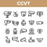 Κάμερα παρακολούθησης, διανυσματικό σύνολο εικονιδίων CCTV γραμμικό διανυσματική απεικόνιση